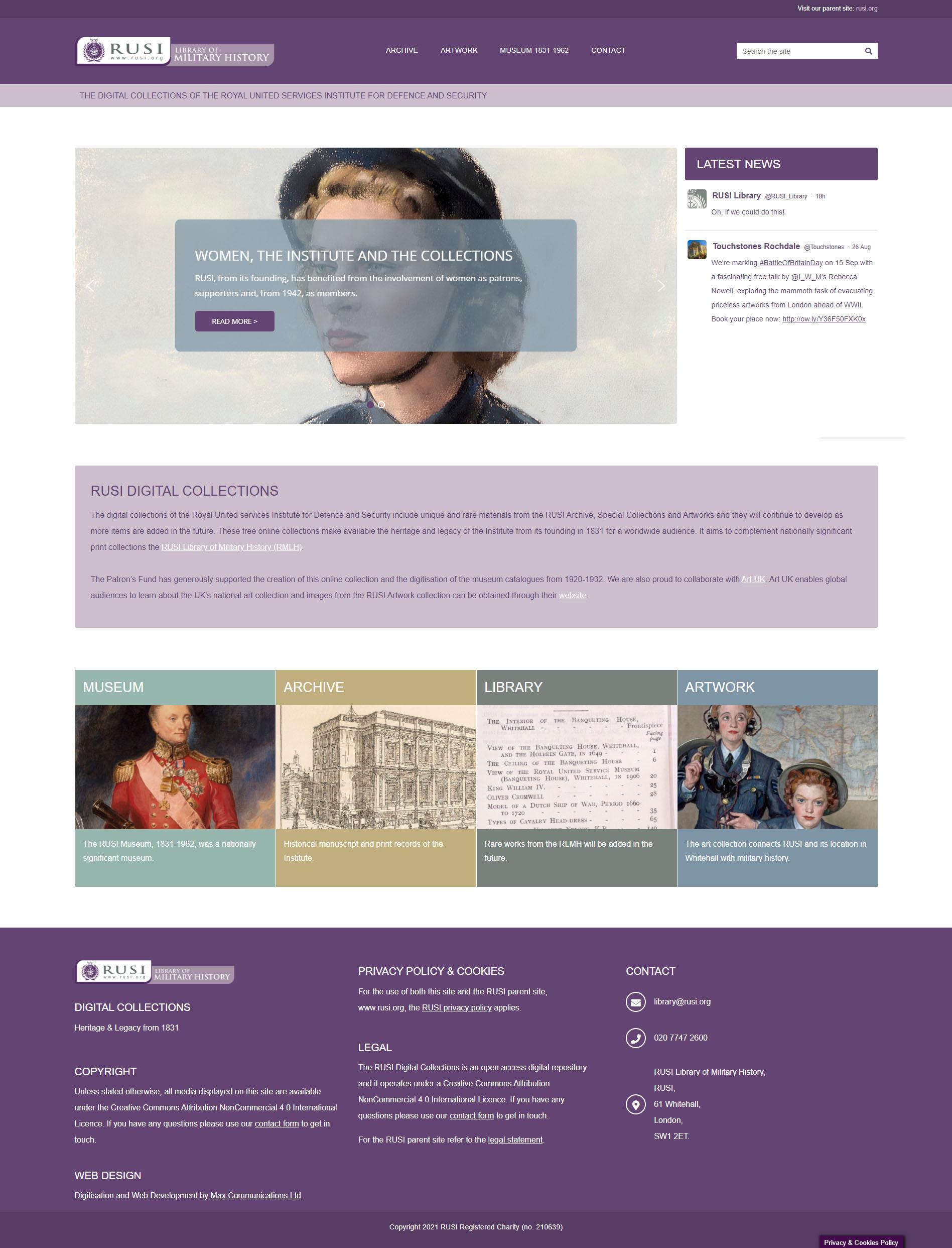 Royal united Services Institute (RUSI) Archive Website screenshot